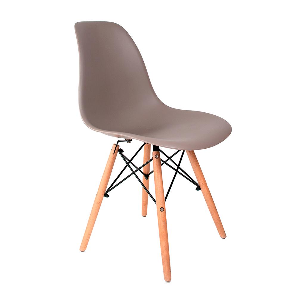 Cadeira Eames Cinza - Base de Madeira Natural