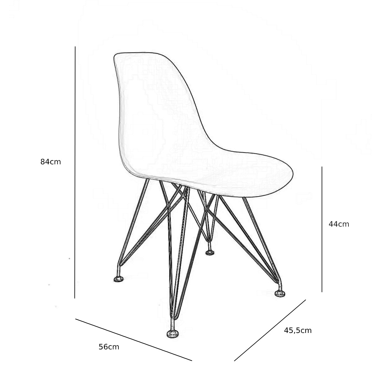 Cadeira Eames Cinza - Base Eiffel Cromada