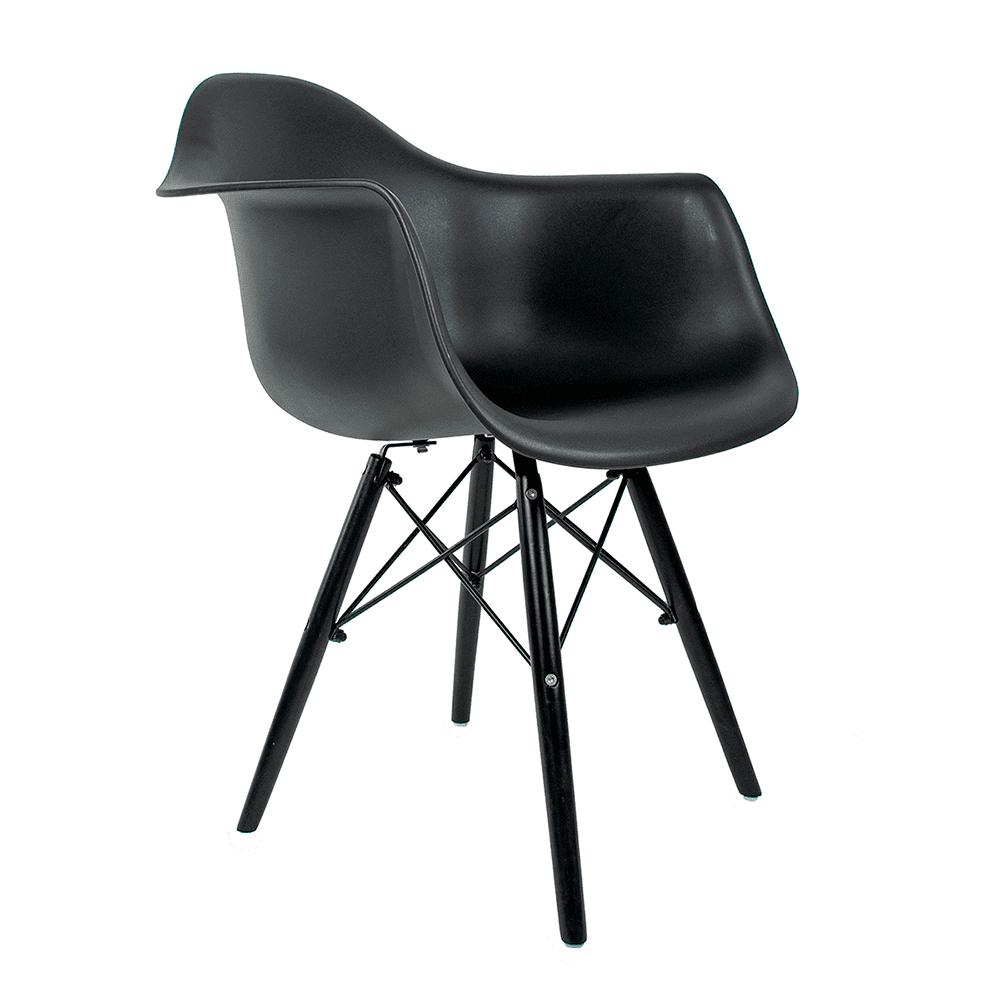 Cadeira Eames com Braços Black Edition - Base Preta Polipropileno