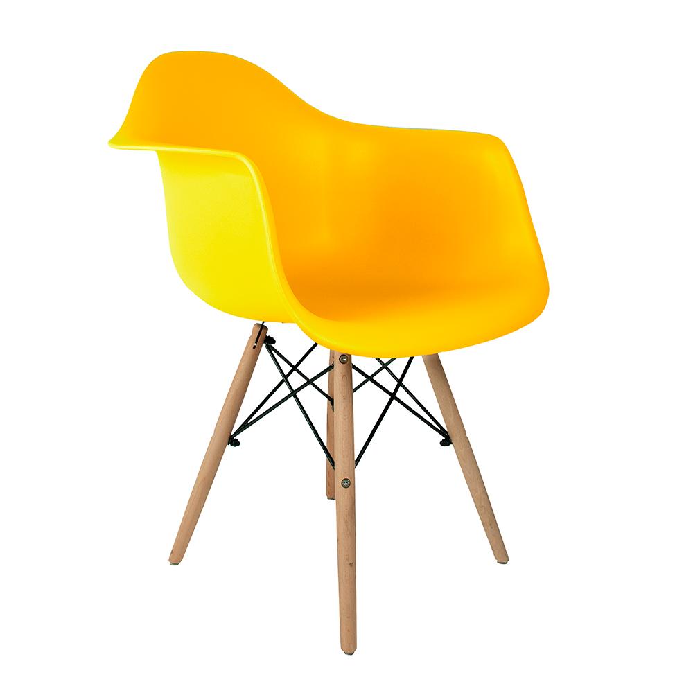 Cadeira Eames com Braços Amarela - Base de Madeira Natural