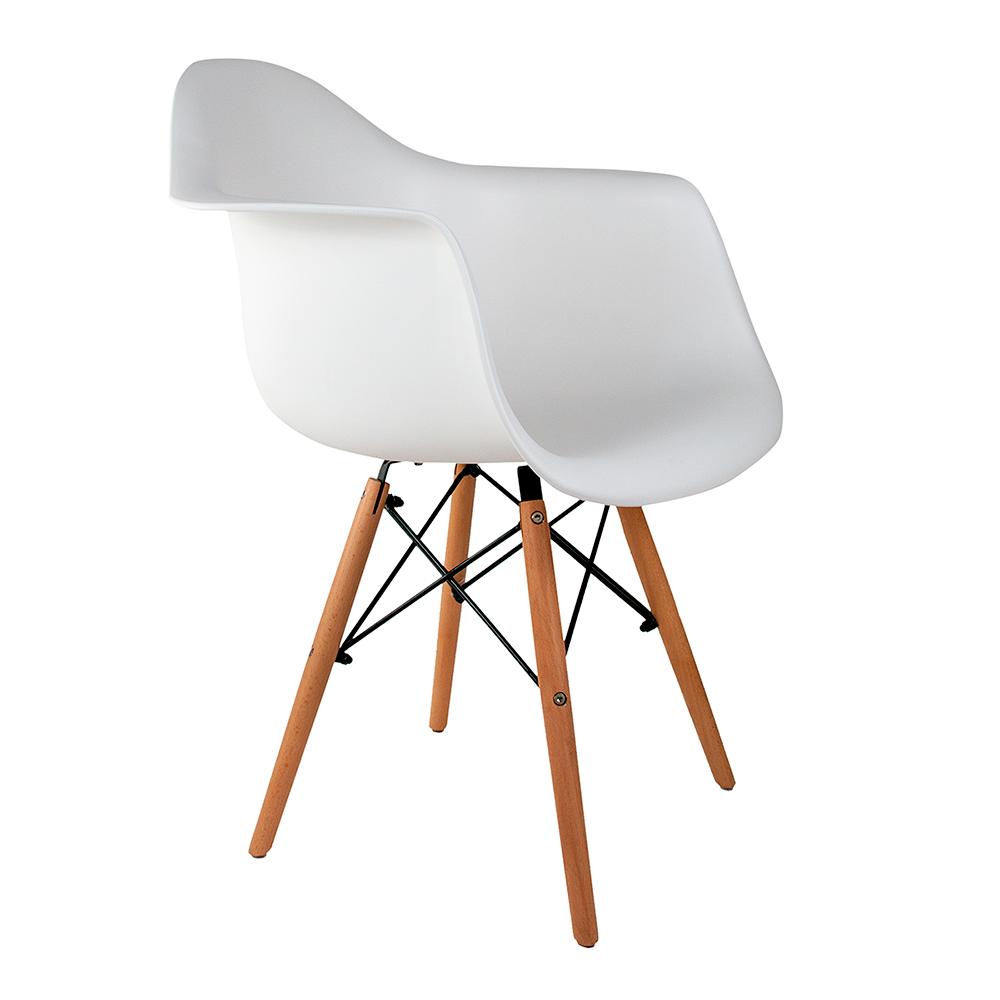 Cadeira Eames com Braços Branca - Base de Madeira Natural