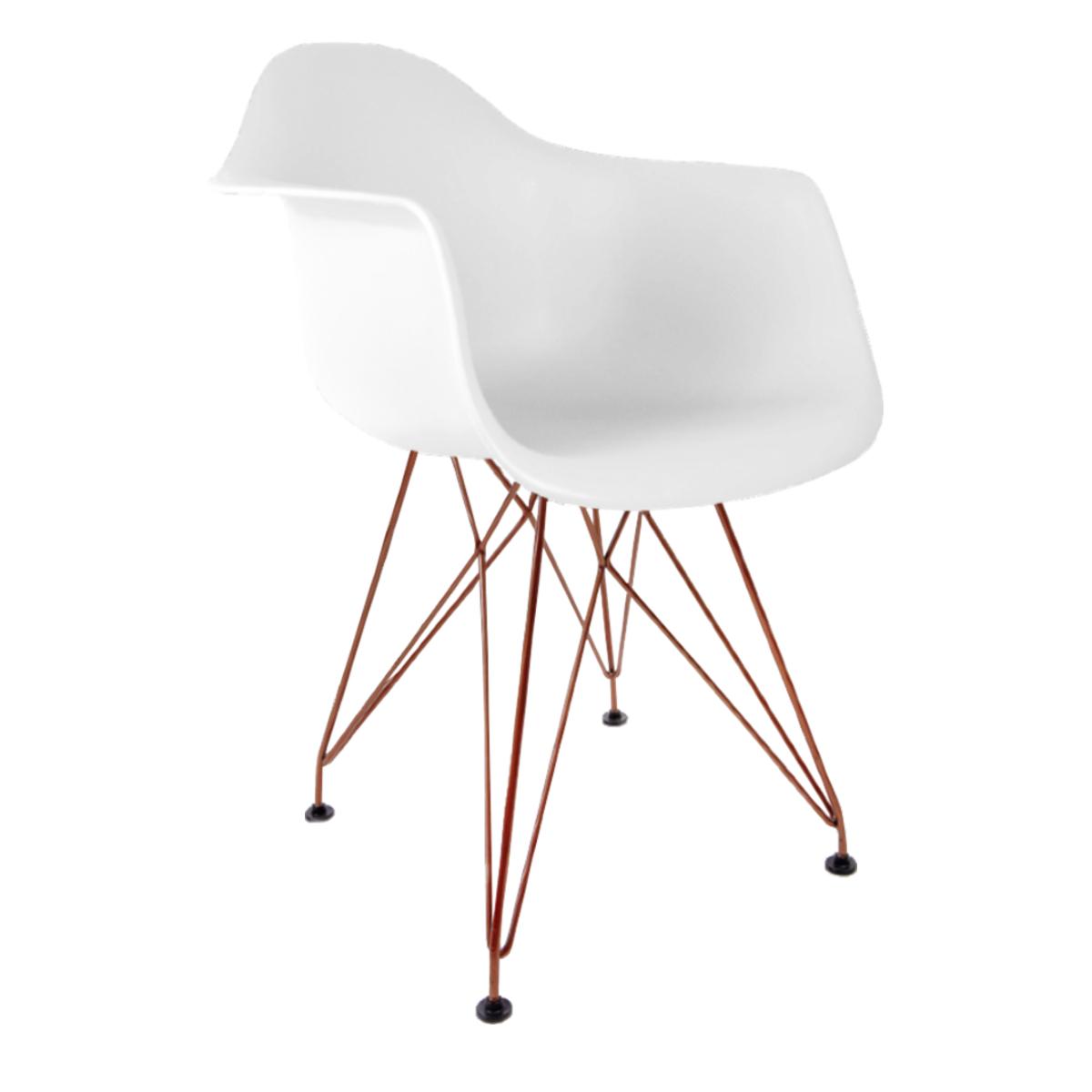 Cadeira Eames com Braços Branca - Base Eiffel Cobre