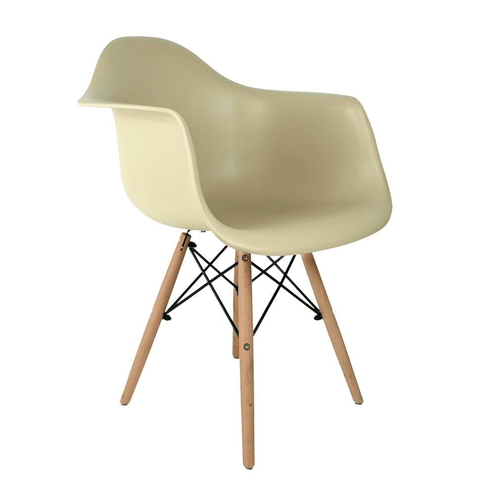 Cadeira Eames com Braços Fendi - Base de Madeira Natural