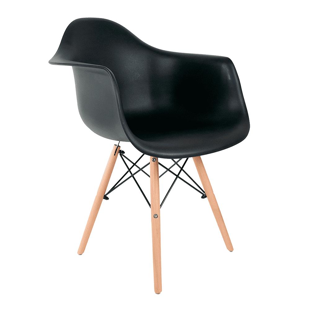 Cadeira Eames com Braços Preta - Base de Madeira Natural