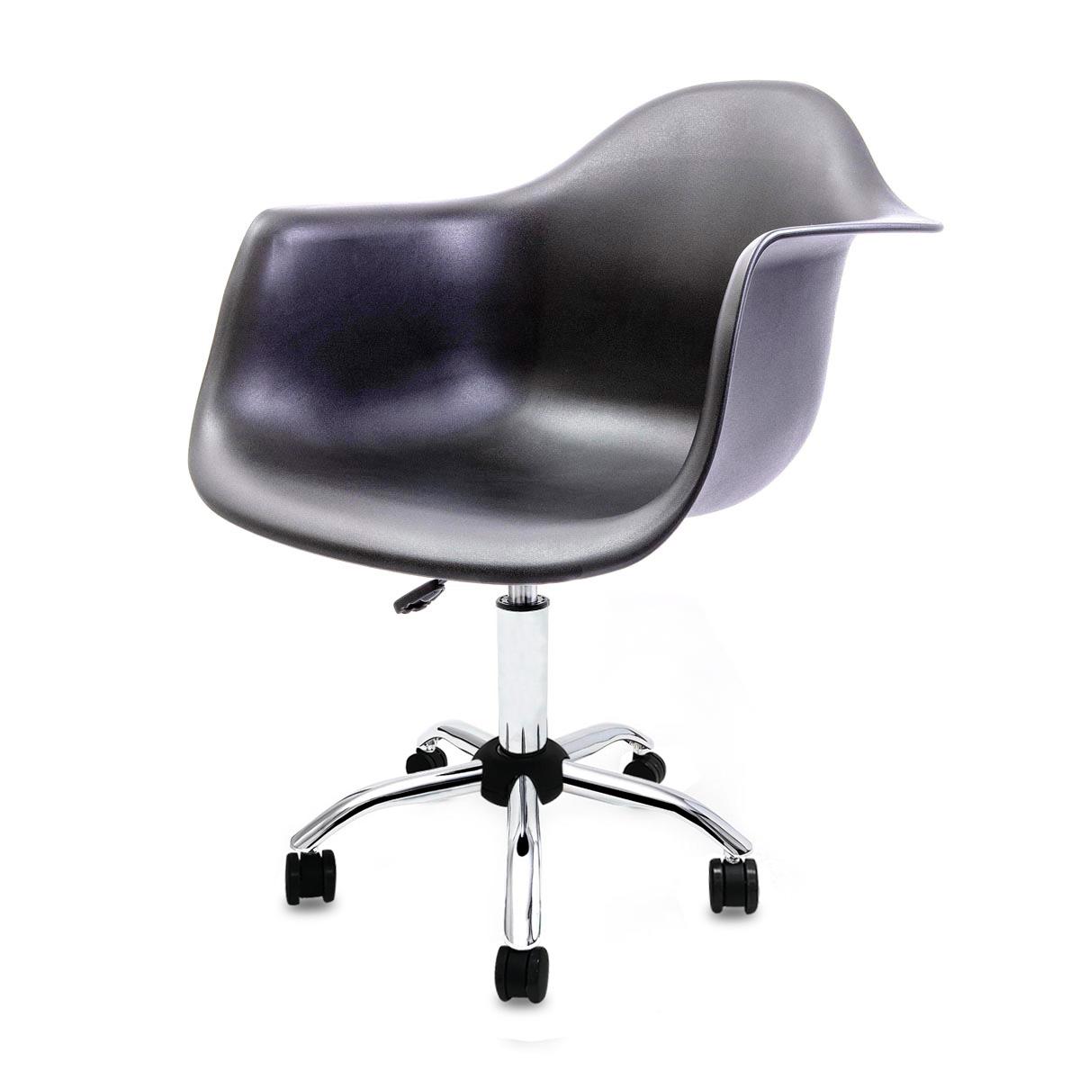 Cadeira Eames com Braços Preta - Base Office Cromada
