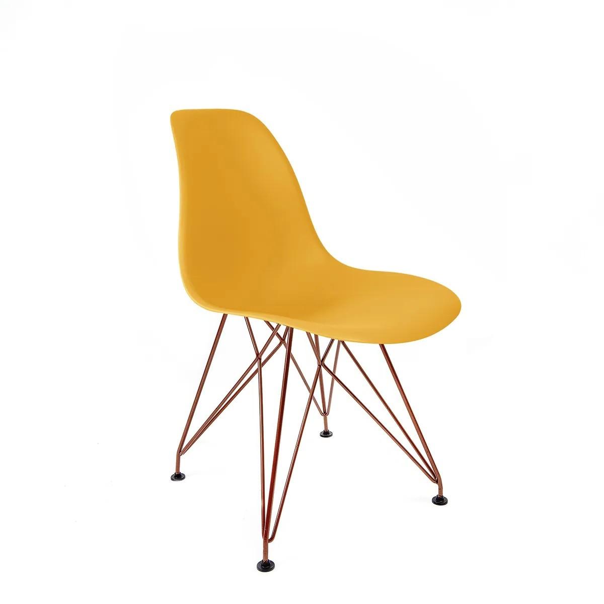 Cadeira Eames Amarela - Base Eiffel Cobre