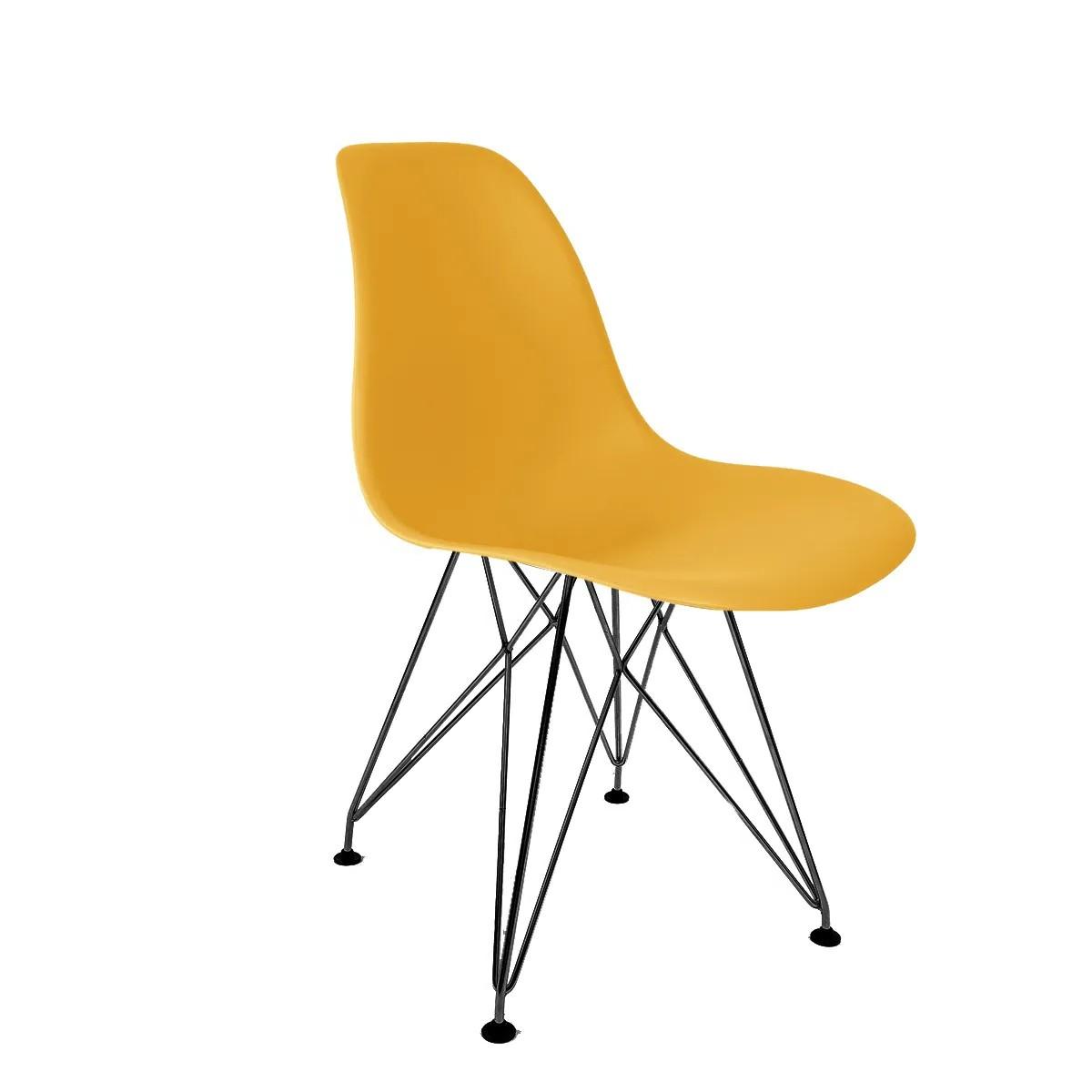 Cadeira Eames Amarela - Base Eiffel Preta