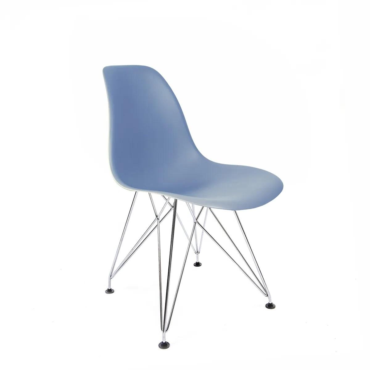 Cadeira Eames Azul - Base Eiffel Cromada