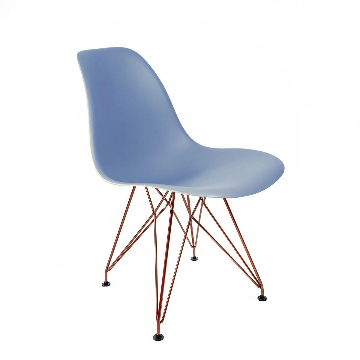 Cadeira Eames Azul - Base Eiffel Cobre