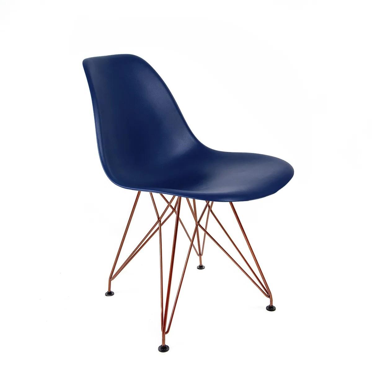 Cadeira Eames Azul Bic - Base Eiffel Cobre