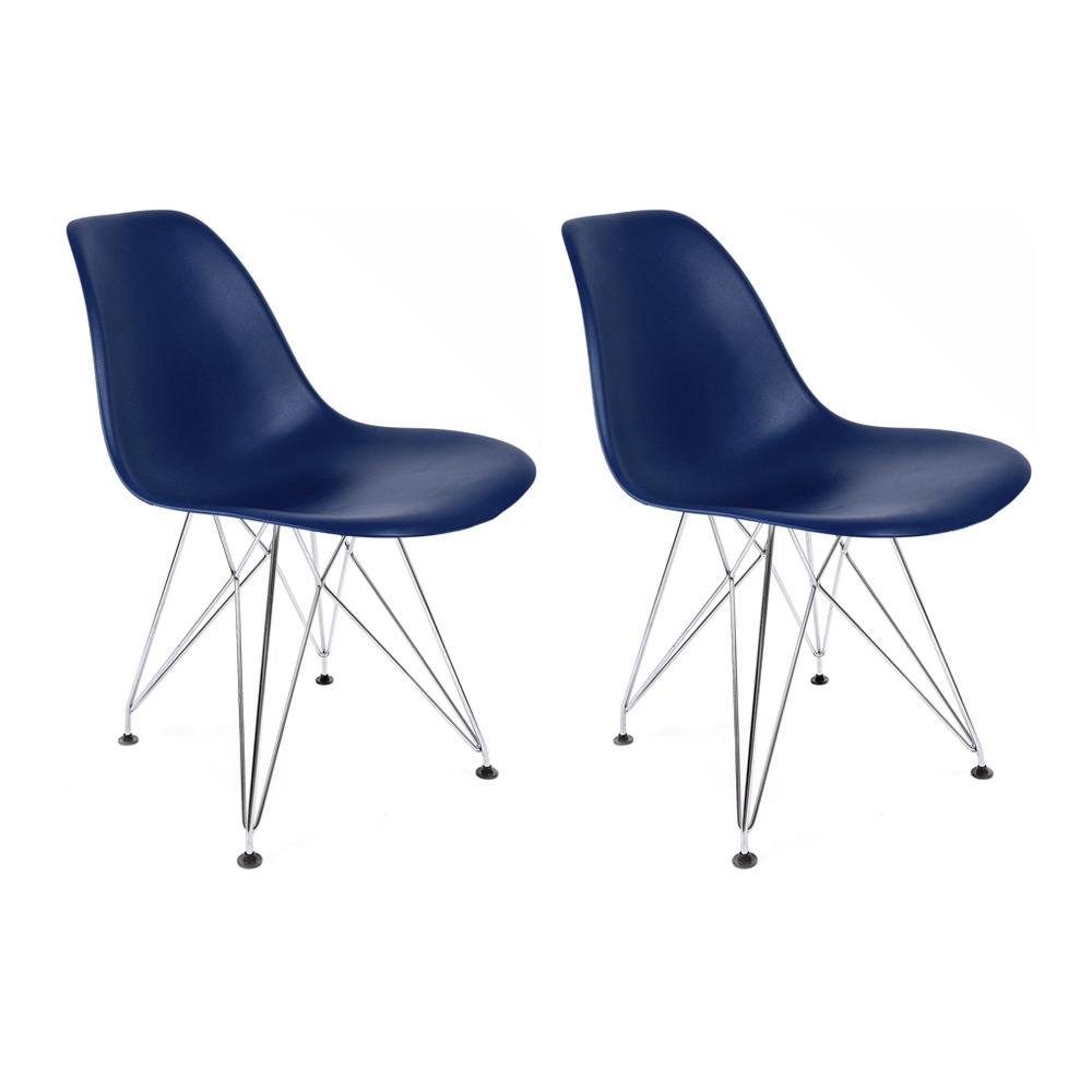Conjunto com 2 Cadeiras Eames Azul Bic - Base Eiffel Cromada