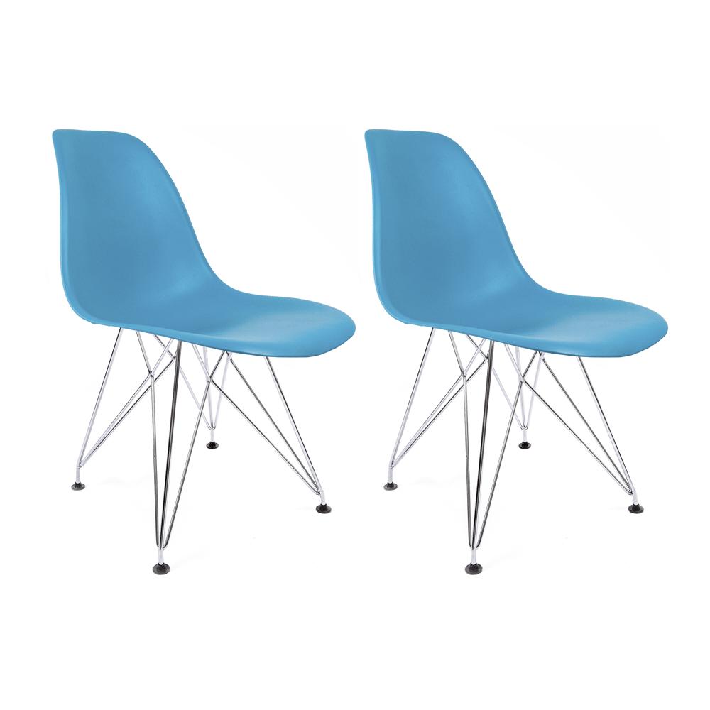 Conjunto com 2 Cadeiras Eames Azul Turquesa - Base Eiffel Cromada