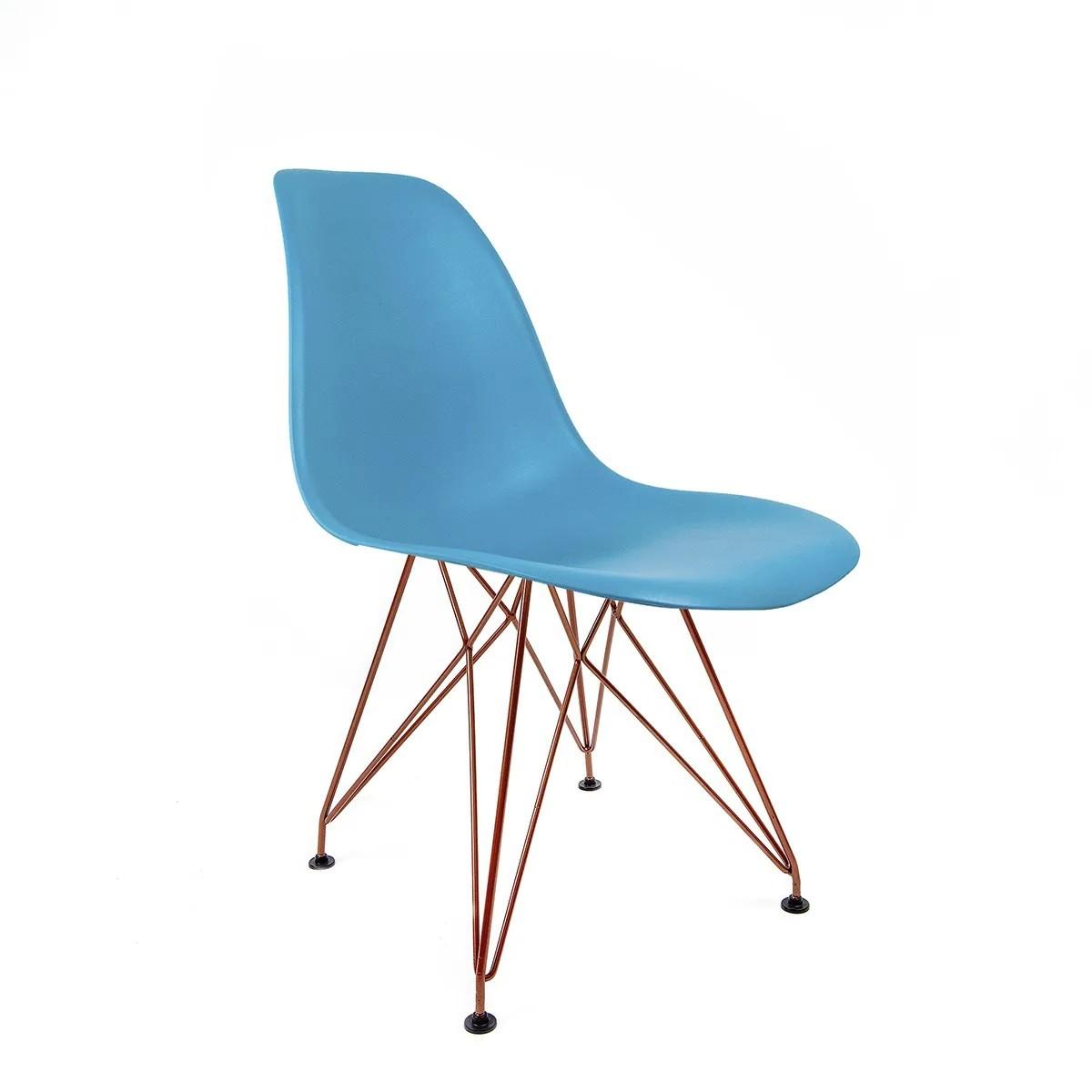 Cadeira Eames Azul TurqueSa - Base Eiffel Cobre