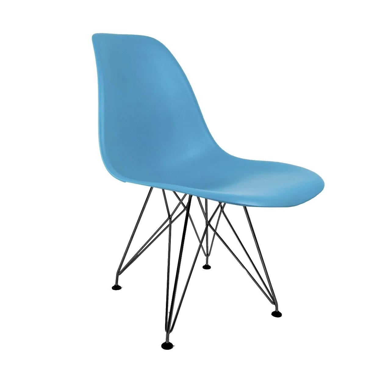 Cadeira Eames Azul Turquesa - Base Eiffel Preta