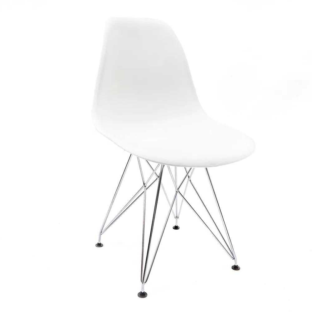 Cadeira Eames Branca - Base Eiffel Cromada