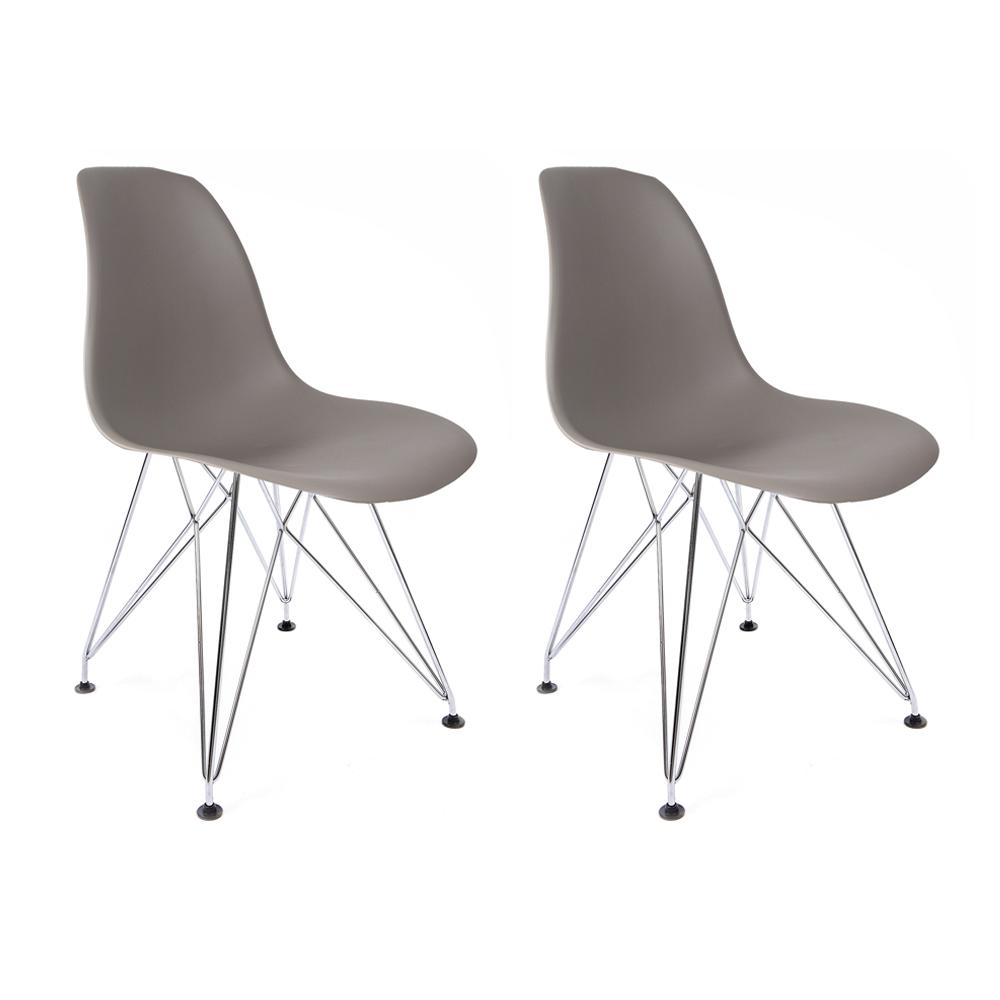 Conjunto com 2 Cadeiras Eames Cinza - Base Eiffel Cromada