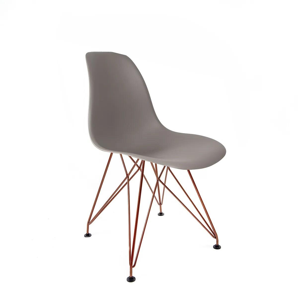 Cadeira Eames Cinza - Base Eiffel Cobre