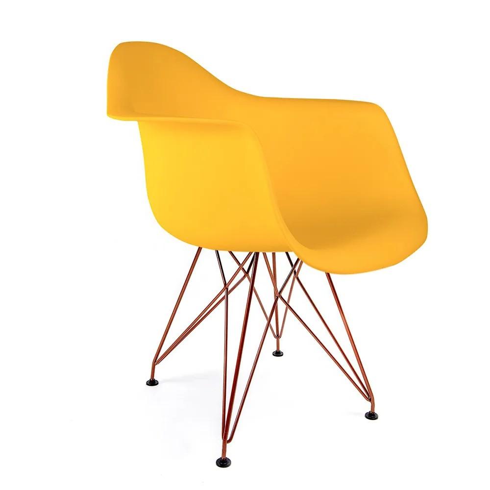 Cadeira Eames com Braços Amarela - Base Eiffel Cobre