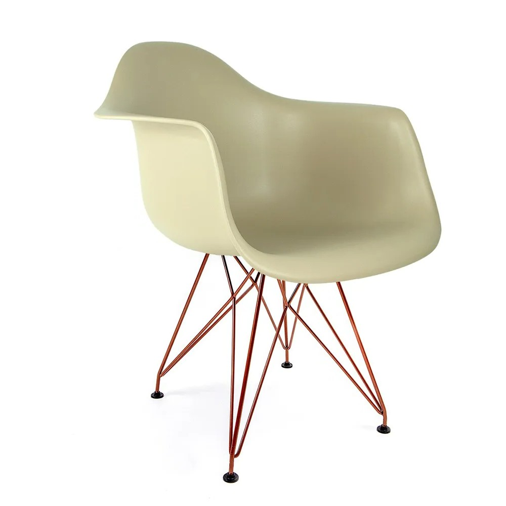Cadeira Eames com Braços Fendi - Base Eiffel Cobre