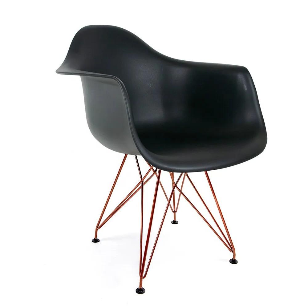Cadeira Eames com Braços Preta - Base Eiffel Cobre