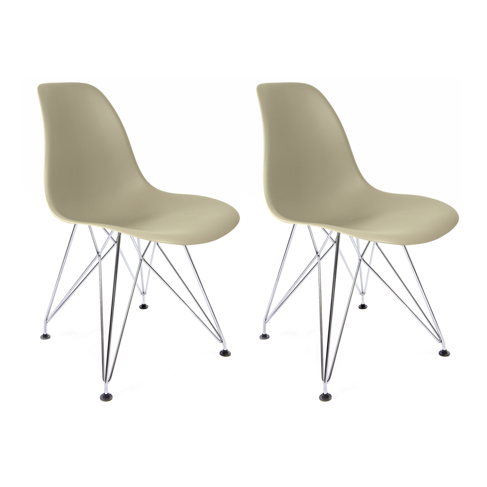 Conjunto com 2 Cadeiras Eames Fendi - Base Eiffel Cromada
