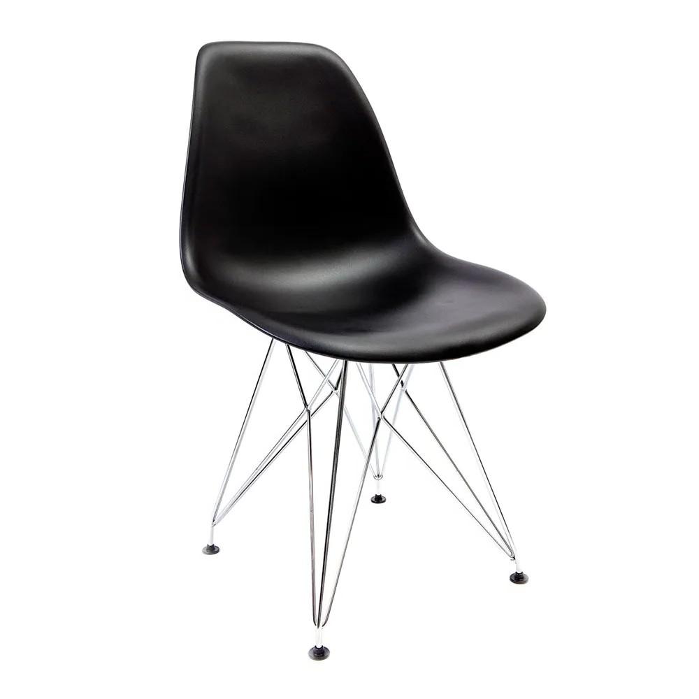 Cadeira Eames Preta - Base Eiffel Cromada