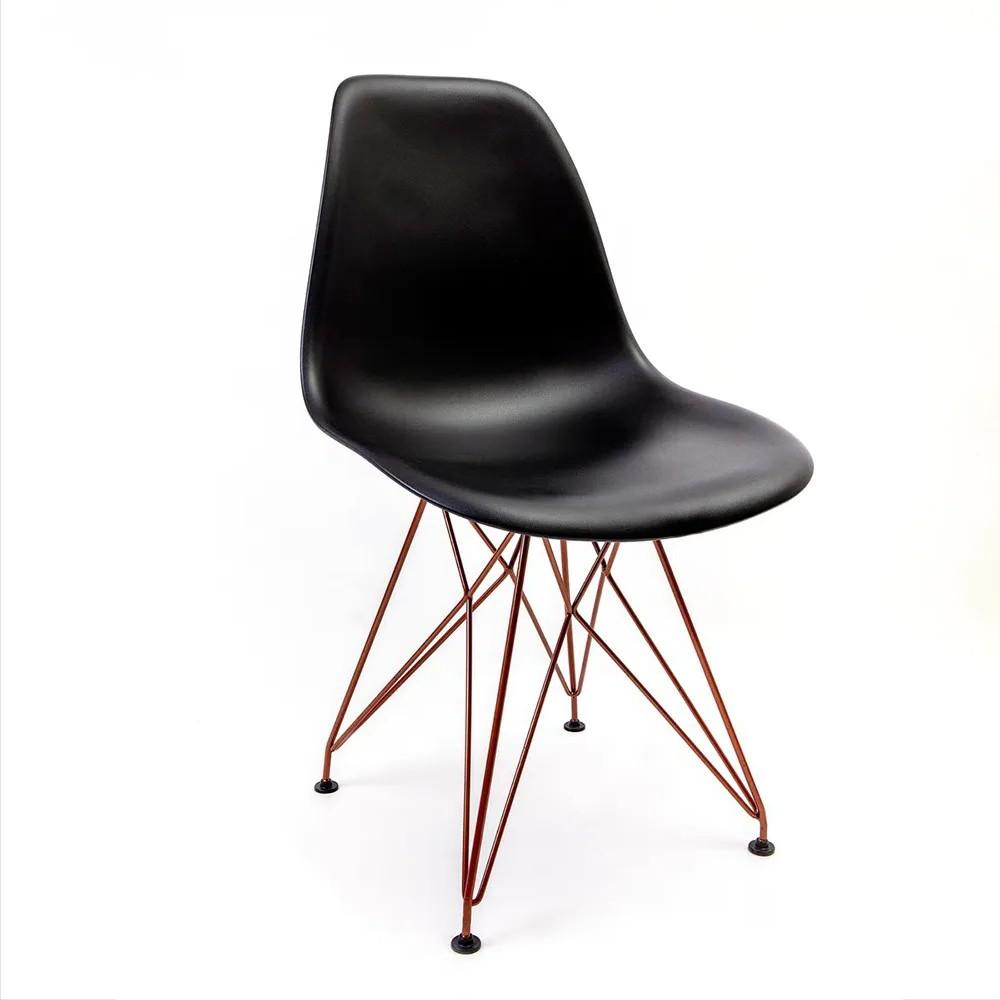 Cadeira Eames Preta - Base Eiffel Cobre