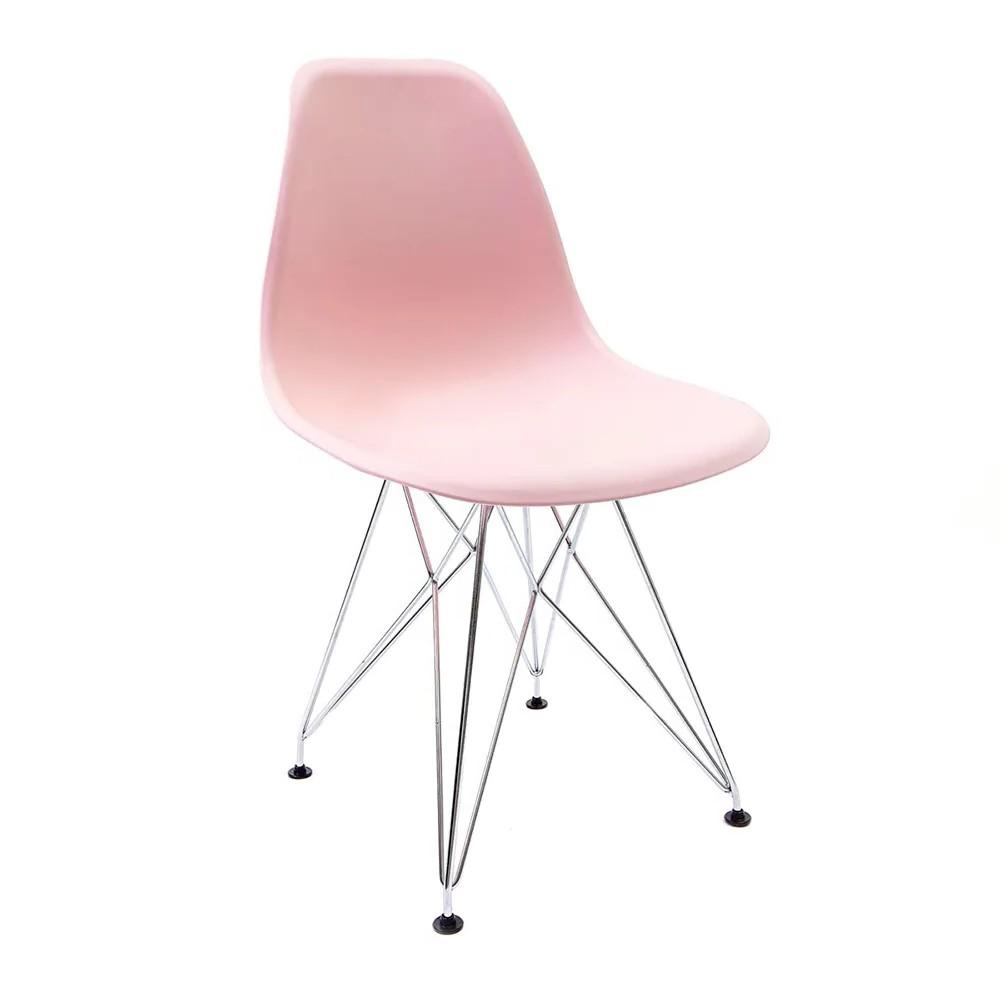 Cadeira Eames Rosa - Base Eiffel Cromada