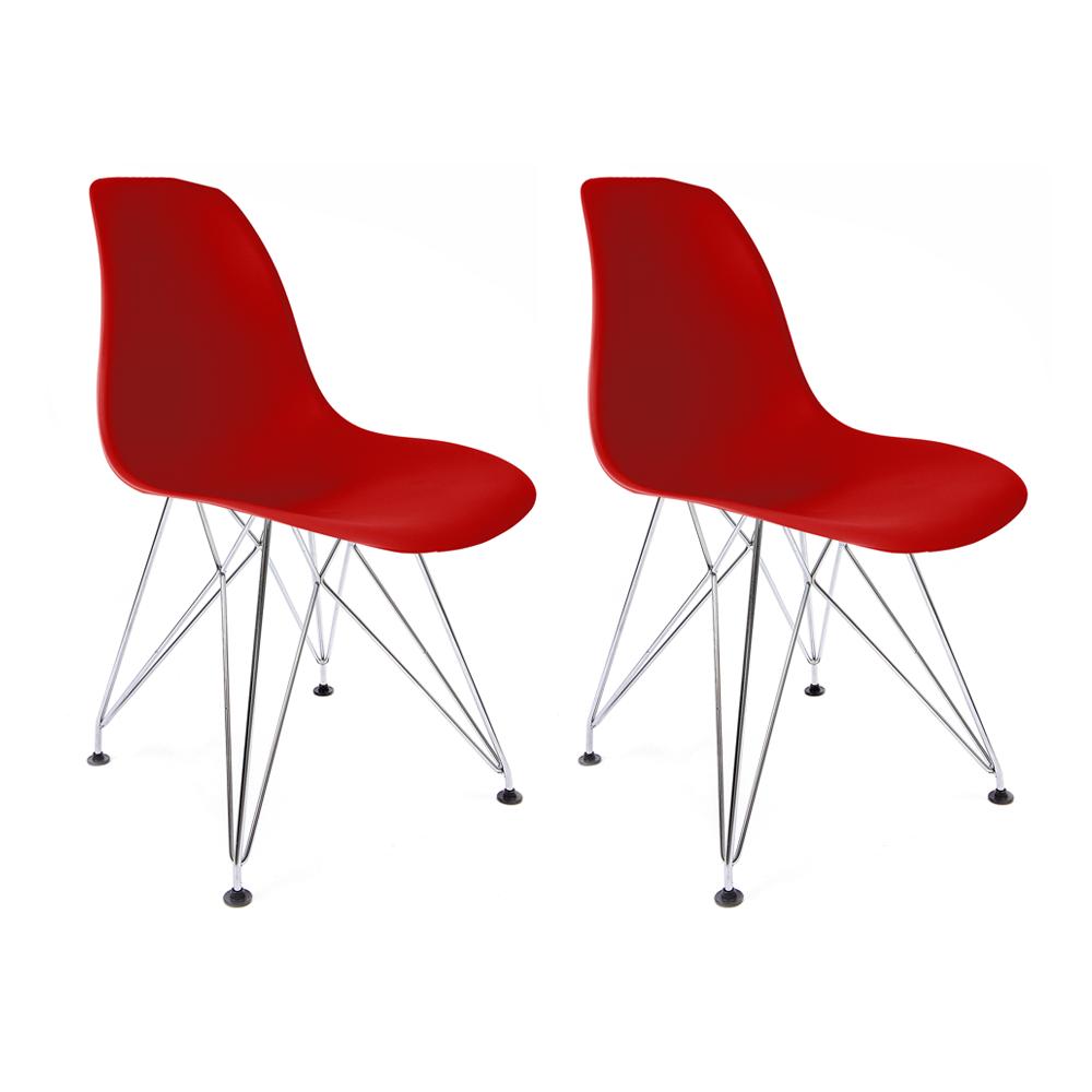 Conjunto com 2 Cadeiras Eames Vermelha - Base Eiffel Cromada