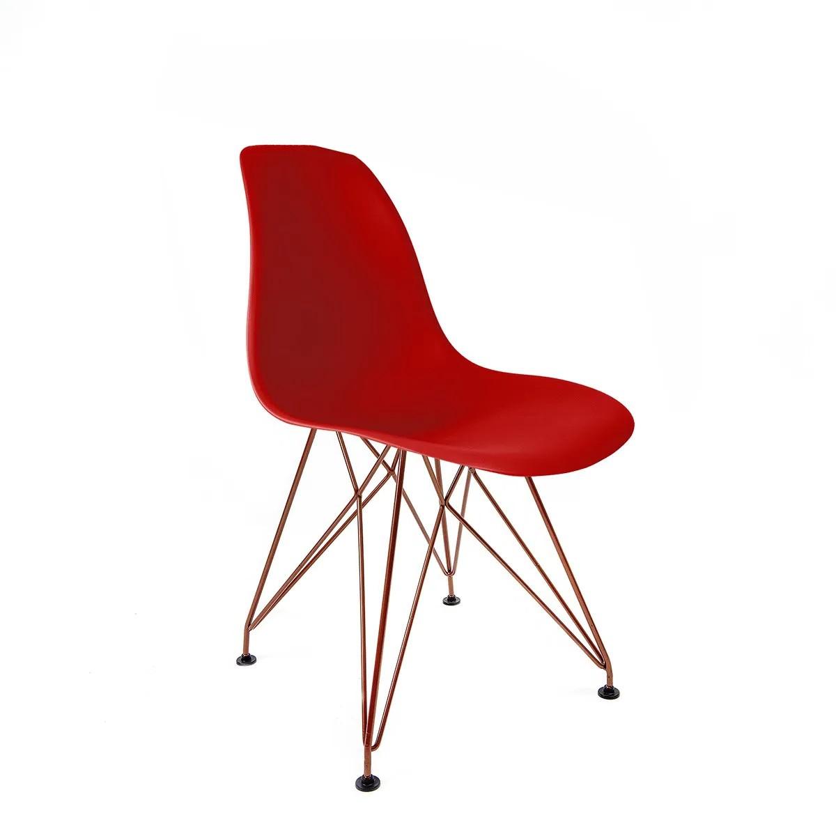 Cadeira Eames Vermelha - Base Eiffel Cobre