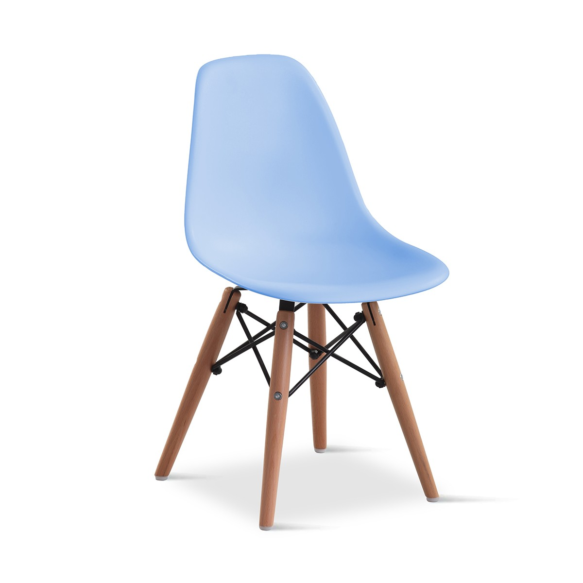 Cadeira Eames Infantil Azul - Base Madeira Natural