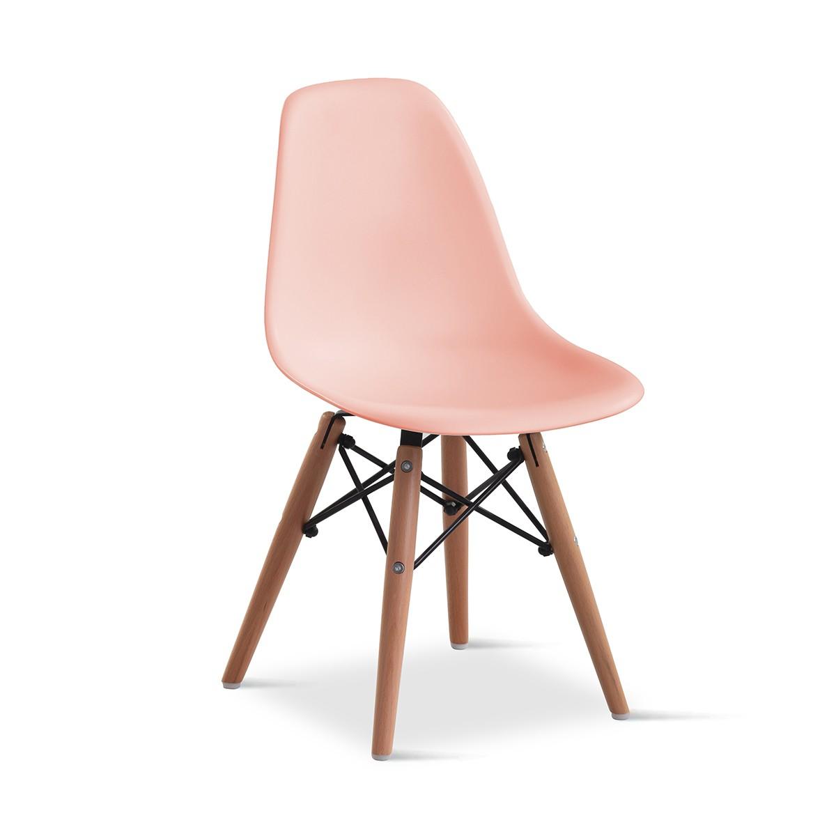 Cadeira Eames Infantil Rosa - Base Madeira Natural