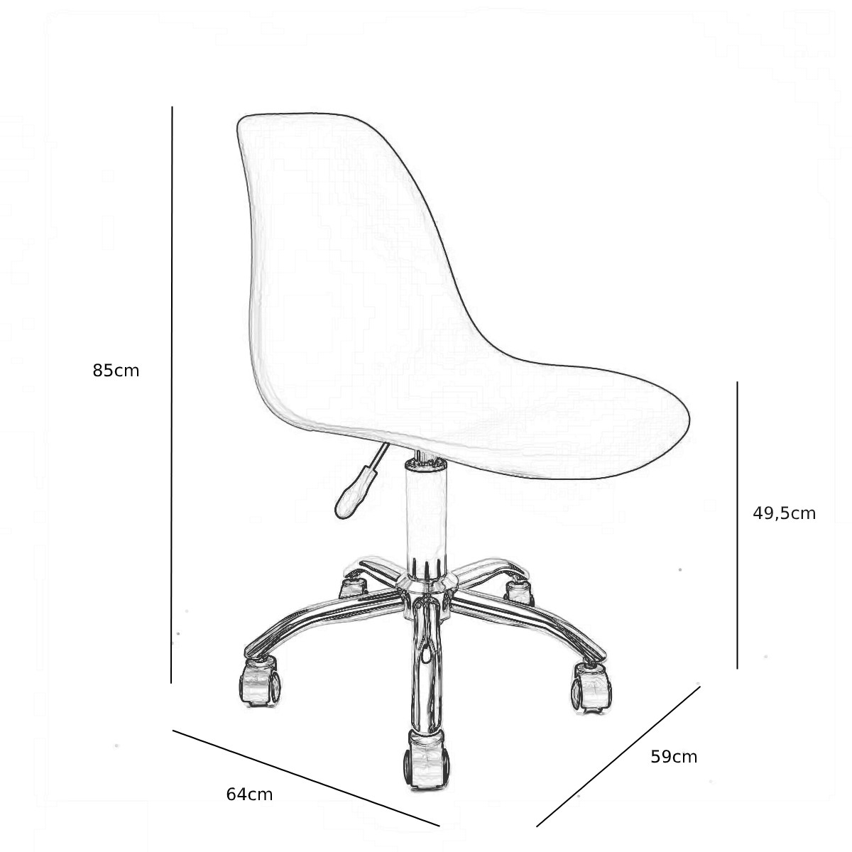 Cadeira Eames Laranja - Base Office Cromada