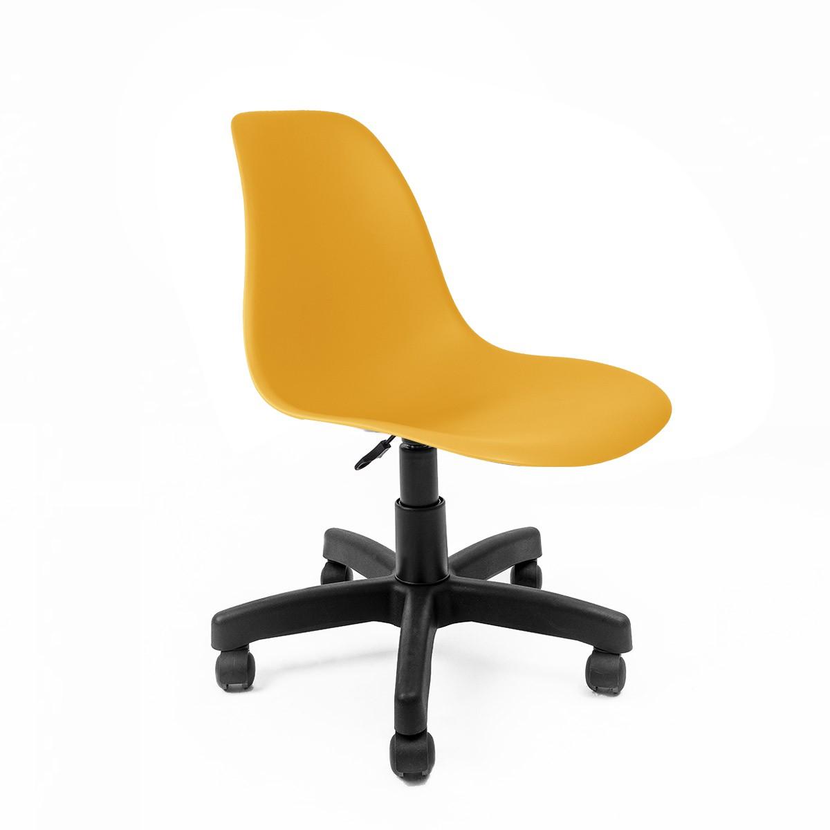 Cadeira Eames Amarela - Base Office Preta