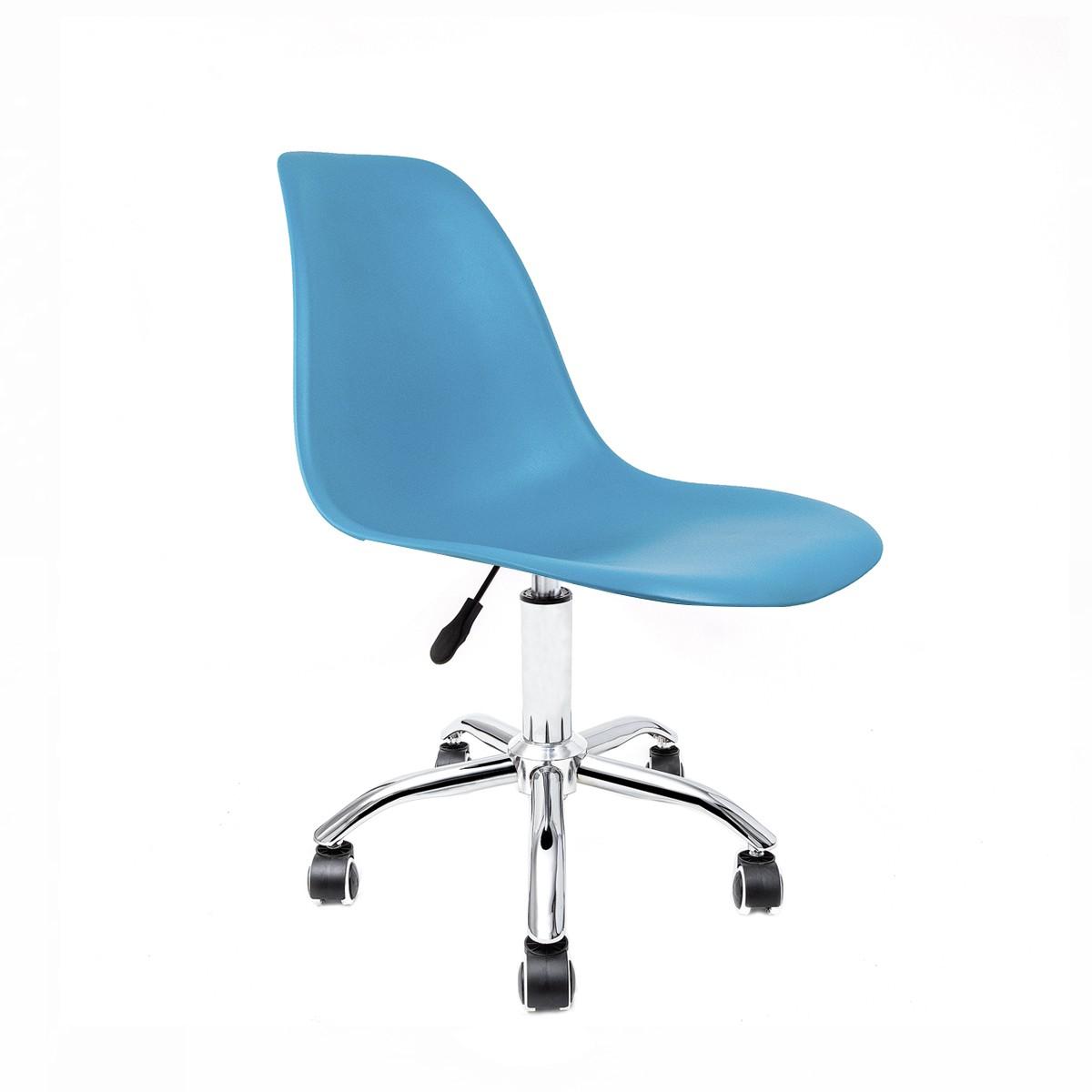 Cadeira Eames Azul Turquesa - Base Office Cromada