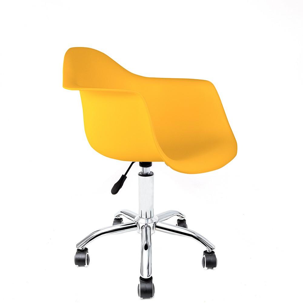 Cadeira Eames com Braços Amarela - Base Office Cromada