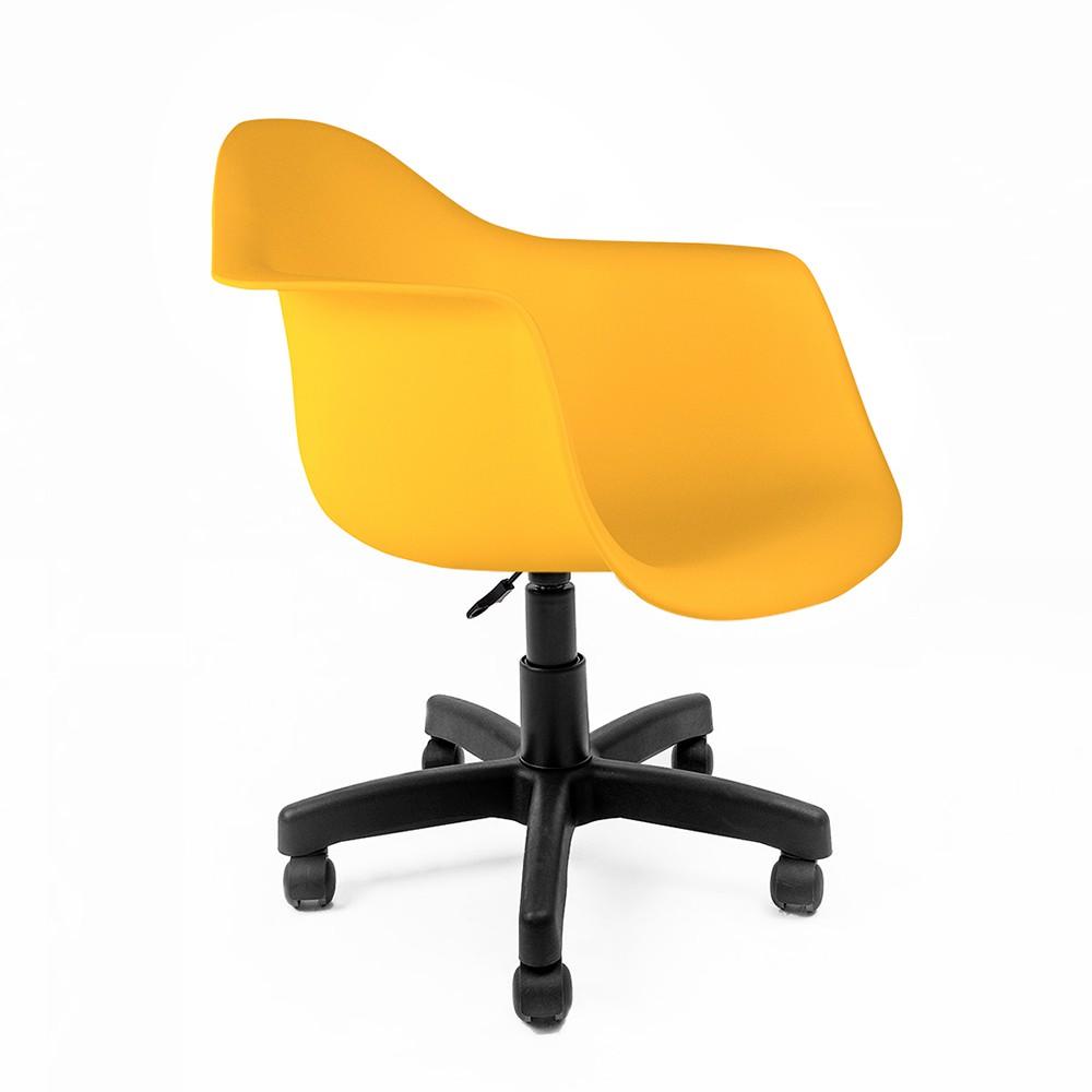 Cadeira Eames com Braços Amarela - Base Office Preta