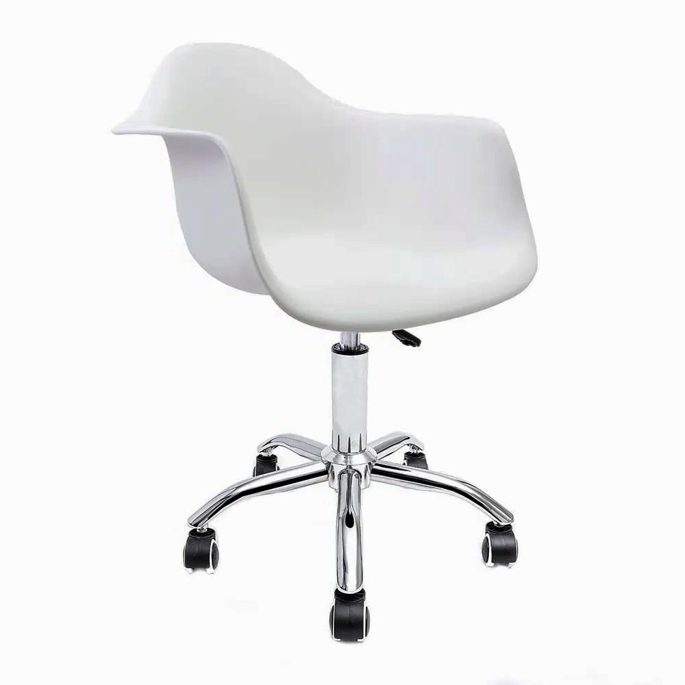 Cadeira Eames com Braços Branca - Base Office Cromada