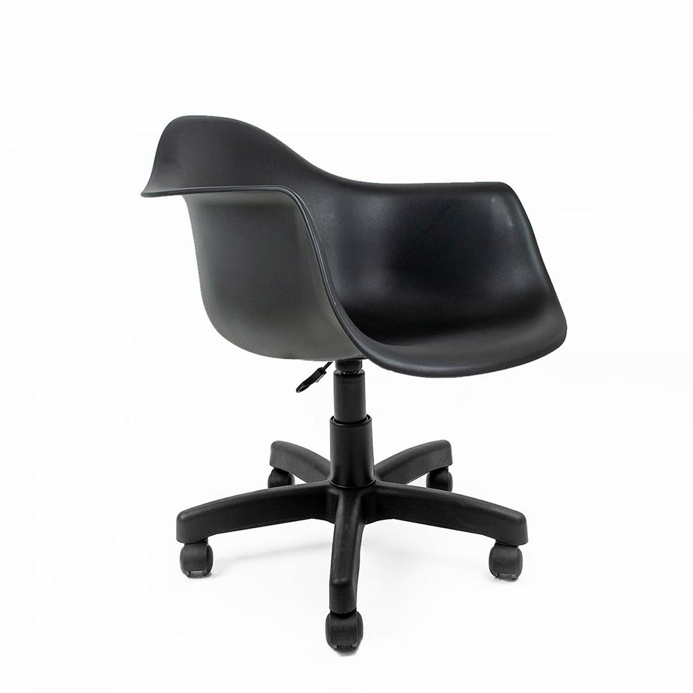 Cadeira Eames com Braços Preta - Base Office Preta