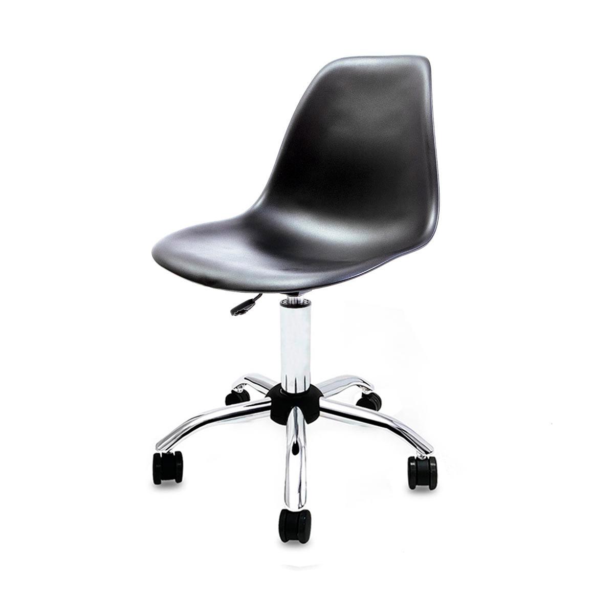 Cadeira Eames Preta - Base Office Cromada