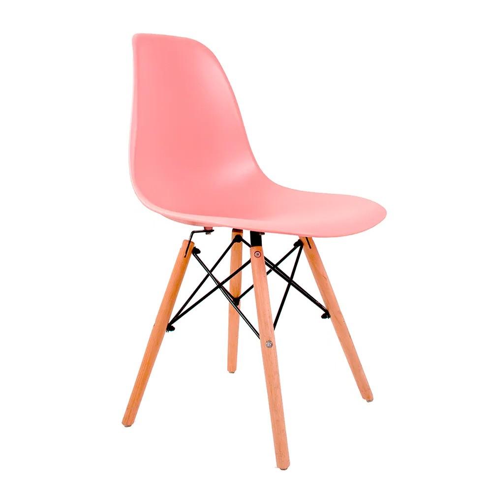 Cadeira Eames Rosa - Base Madeira Natural