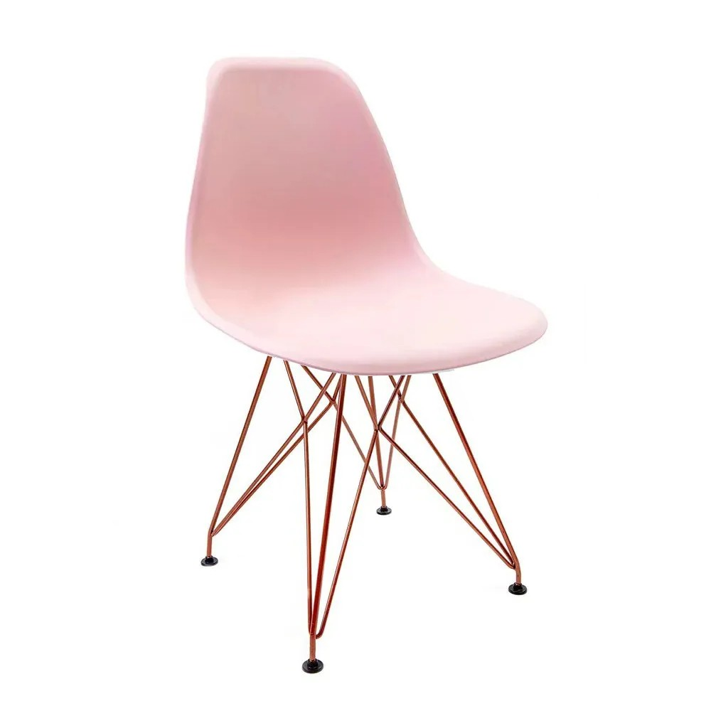 Cadeira Eames Rosa - Base Eiffel Cobre