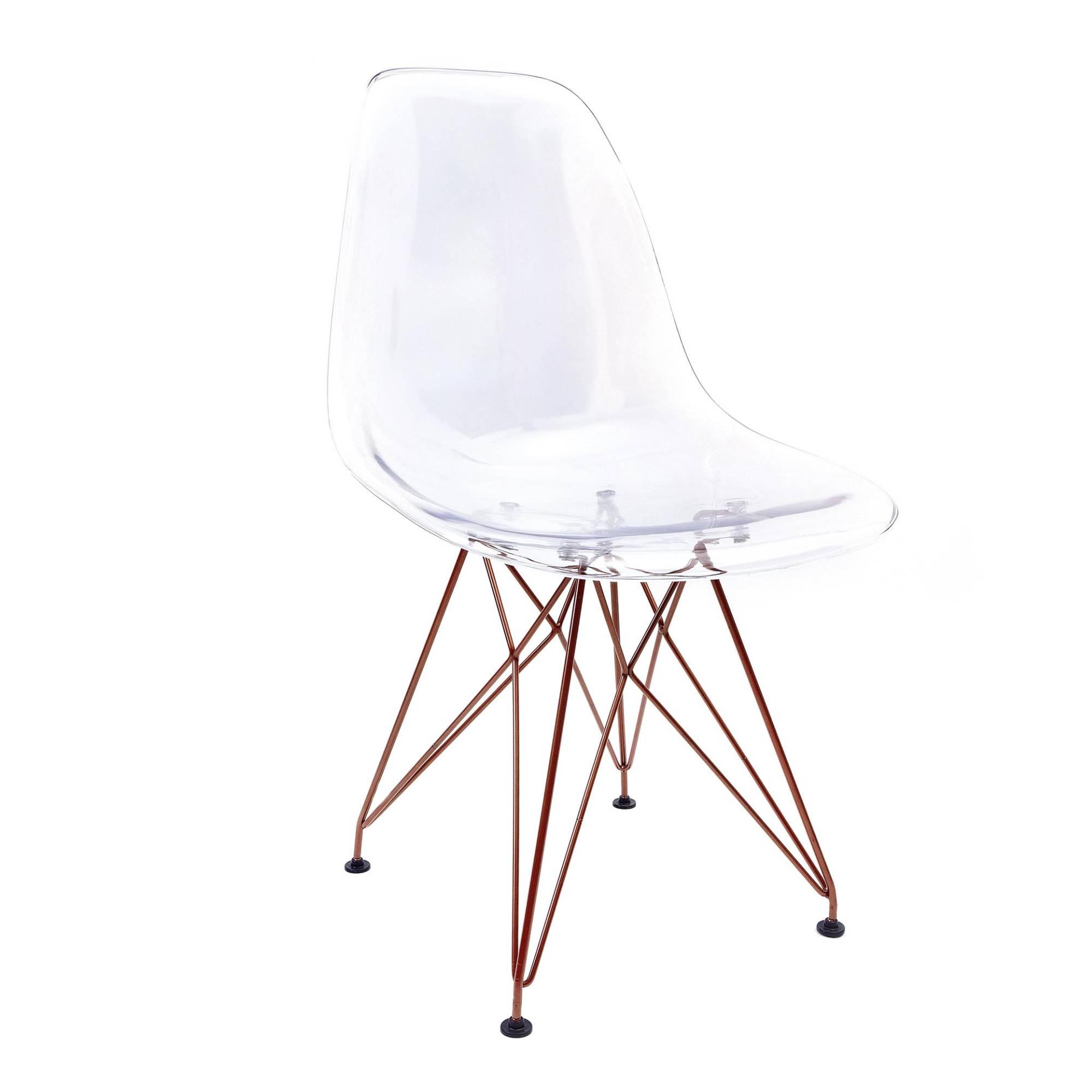 Cadeira Eames Transparente - Base Eiffel Cobre