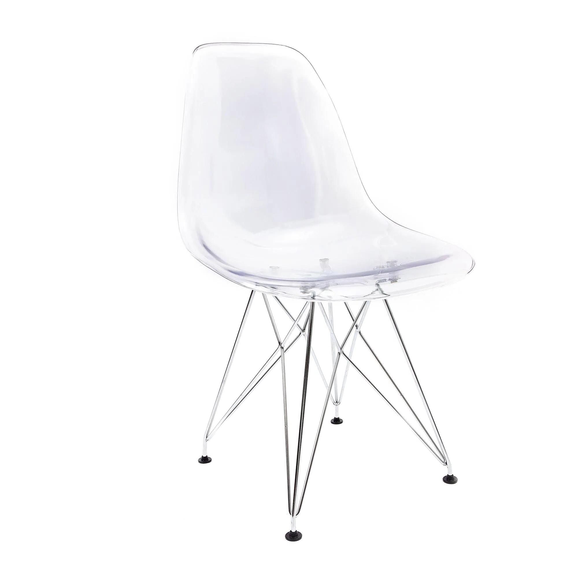 Cadeira Eames Transparente - Base Eiffel Cromada