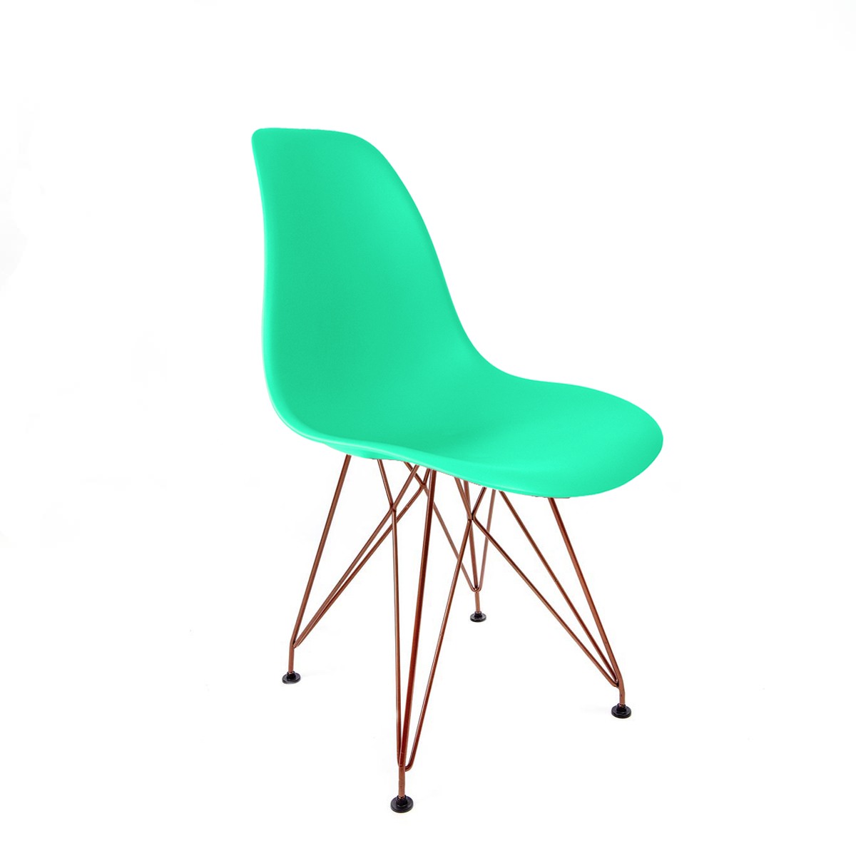 Cadeira Eames Verde Tiffany - Base Eiffel Cobre