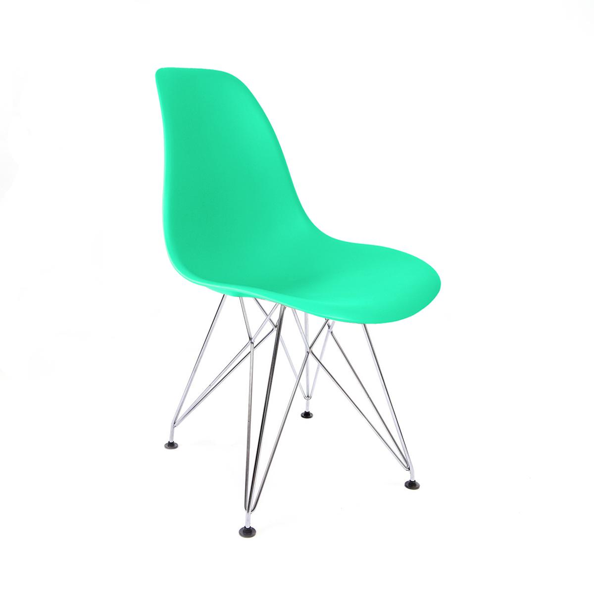 Cadeira Eames Verde Tiffany - Base Eiffel Cromada