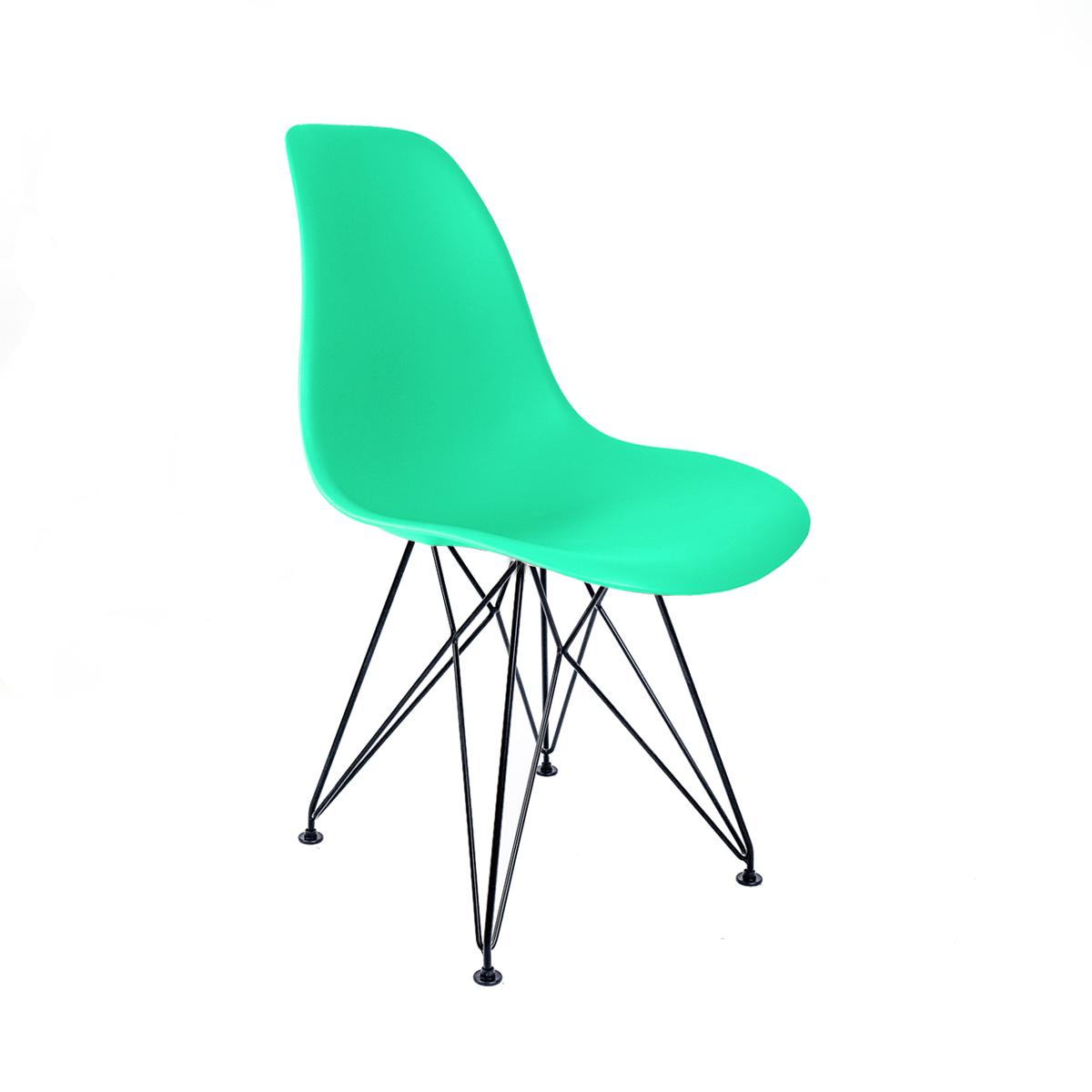 Cadeira Eames Verde Tiffany - Base Eiffel Preta