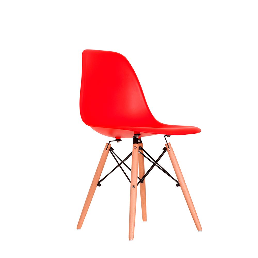 Cadeira Eames Vermelha - Base Madeira Natural
