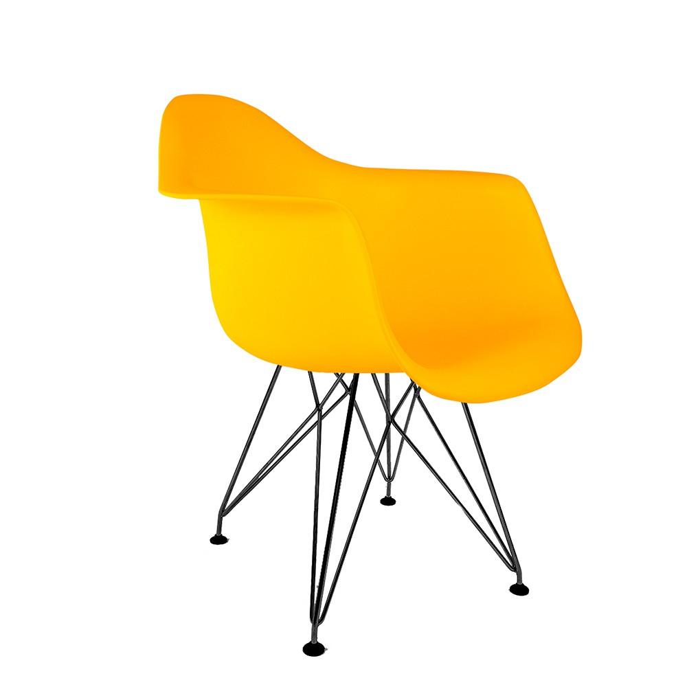 Cadeira Eames com Braços Amarela - Base Eiffel Preta