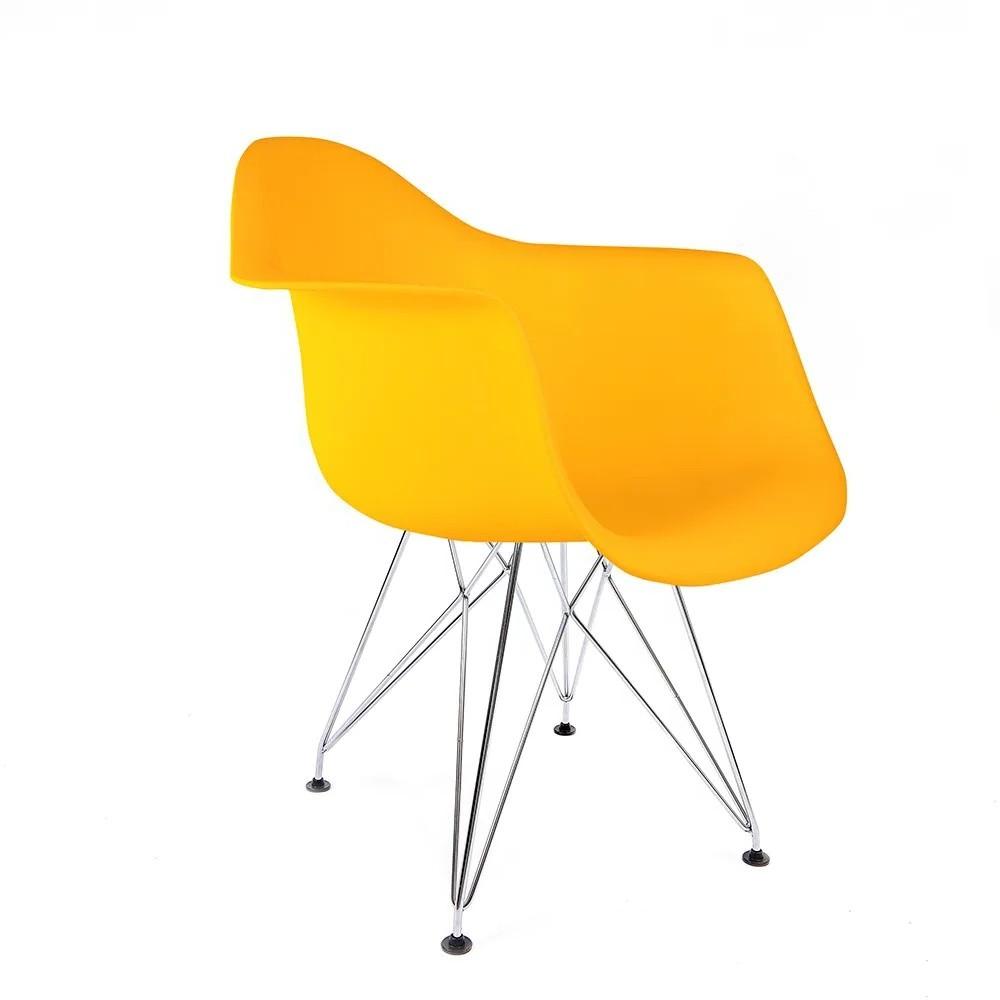 Cadeira Eames com Braços Amarela - Base Eiffel Cromada